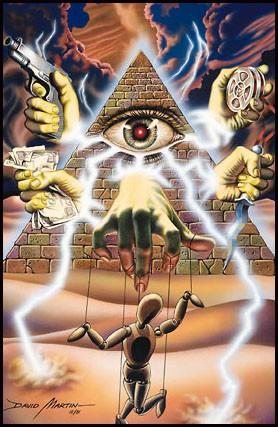 Illustration pour le jeu Illuminati, The games of conspiration, par David Martin, Steve Jackson Games (SJG), 1983.