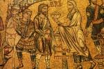 Abraham rencontre Melchisedech - Mosaïque de la basilique San Marco, anonyme, 13e siècle.