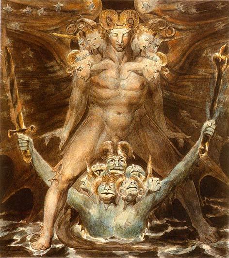 Le Grand Dragon et la Bête venue de la mer, William Blake, 1805.