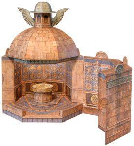 La maquette de la reconstitution de la Tombe dite de l'Illumination telle que décrite dans la Fama Fraternitatis fait partie du Museum of Lost Wonder de Jeff Hoke.